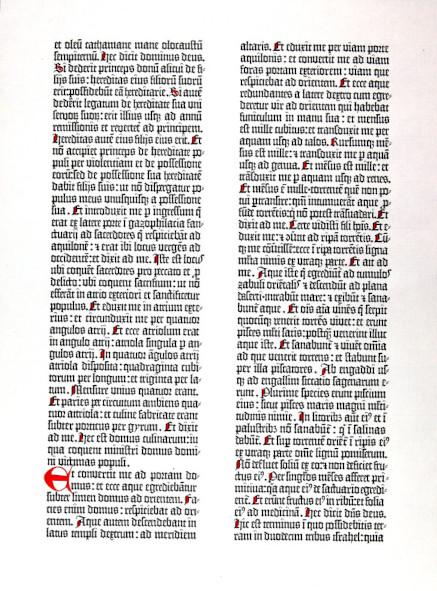 Fac-similé d'un feuillet de la Bible à 42 lignes de Gutenberg / Bibliothèque Patrimoniale, cote 184152R