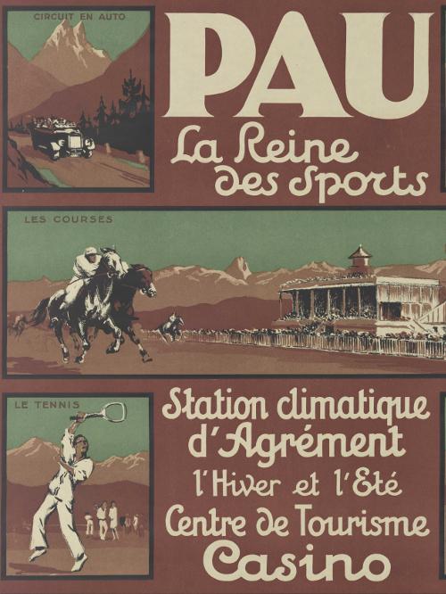 Détail de : Chemins de fer du Midi. Pau : la reine des sports ; vers 1930 ; Bibliothèque Patrimoniale de Pau, affiche publicitaire ; cote 240300