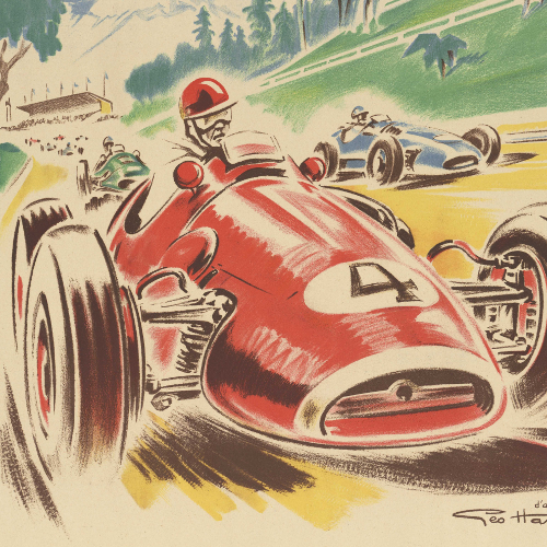 Détail de : Grand prix de Pau ; 1950/1960 ; affiche publicitaire ; Bibliothèque Patrimoniale