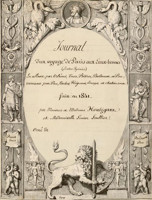 Page de titre du Journal d'un voyage de Paris aux Eaux-Bonnes / 1841-1865 / Bibliothèque Patrimoniale Pau / cote Ms124