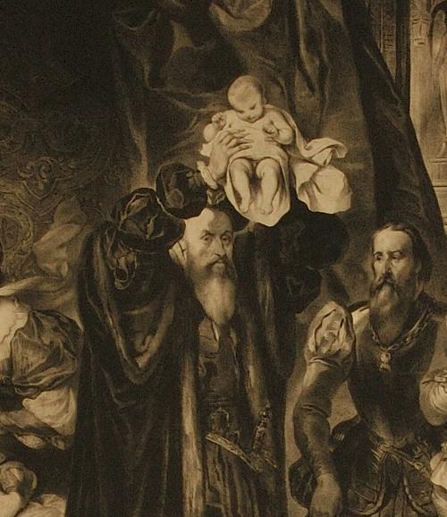 Détail de : Naissance de Henri IV ; vers 1830 ; Musée National du Château de Pau, lithographie d'après le tableau d'Eugène Devéria publicitaire ;cote P.55.16.1
