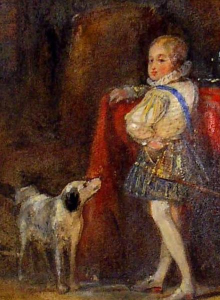 Détail de :Henri de Navarre enfant et son chien ; 1832 ; Musée National du Château de Pau, Aquarelle gouachée ;cote P.2004.3.1