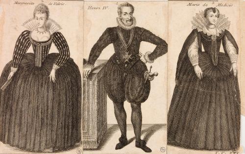 Marguerite de Valois/ Henri IV/ Marie de Médicis ; 171 ? ; Musée National du Château de Pau, eau-forte ;cote P.1188