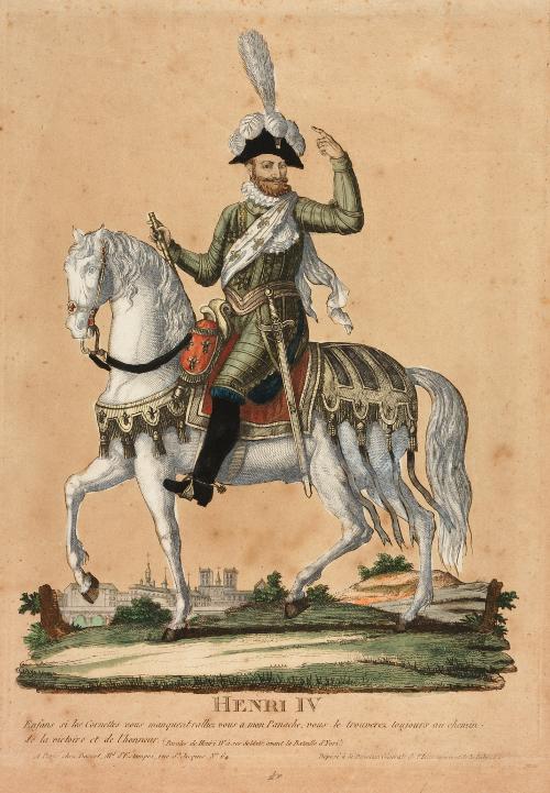 Portrait équestre d'Henri IV devant Paris ; vers 1815 ; Musée National du Château de Pau, eau-forte ; cote P.1156