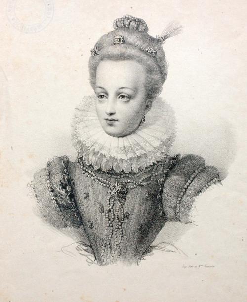 Portrait de Gabrielle d'Estrées en buste ; vers 1825 / Musée National du Château de Pau, eau-forte ; cote P.71.47.3
