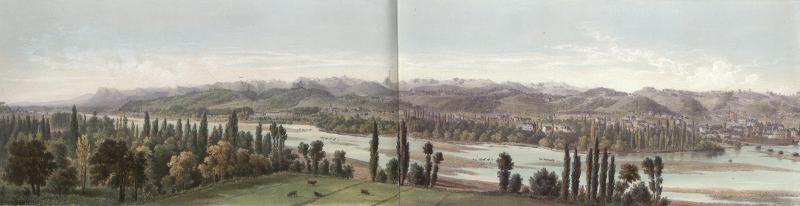 Panorama de la Chaîne des Pyrénées : Pris de la place Royale à Pau / Mercereau,Charles / 18?? / lithographie / Bibliothèque Patrimoniale / cote Ee3208